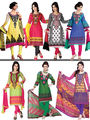 Set of 7 Mughal Inspired Printed Dress Material with Lace (7PDM1)