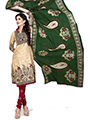 Silkbazar Printed Cotton Dress Material - Cream & Maroon