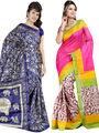 Pack of 2 Thankar Printed Bhagalpuri Saree -Tds137-207.208