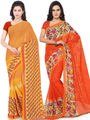 Combo of 2 Triveni Printed Faux Georgette Yellow Sarees -Tsco102