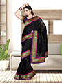 Zoom Fabrics Embroidered Net Saree - Black-2447