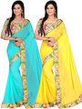Combo of 2 Bhuwal Fashion Plain Bhagalpuri Silk Designer Saree -bhl16
